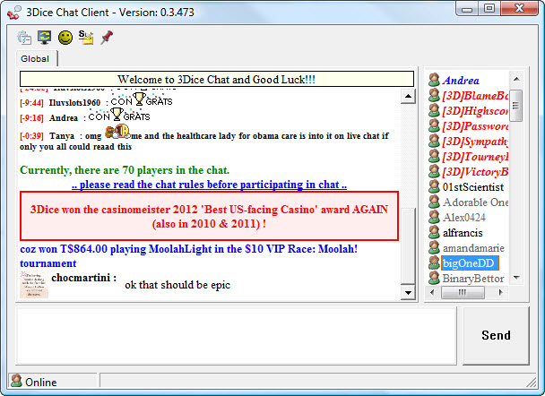 3Dice Chat Client